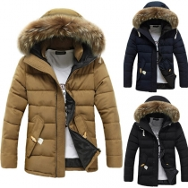 Fashion Solid Color Faux Fur Spliced Hooded Men's Padded Coat
