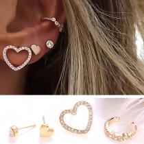 Fashion Rhinestone Inlaid Heart Shaped Stud Earring Set 4 pcs/Set