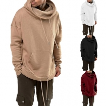 Fashion Solid Color Long Sleeve Cowl Neck Men's Hoodie