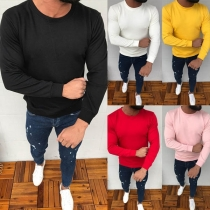 Simple Style Long Sleeve Round Neck Solid Color Men's Sweatshirt