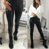 Stylische Damen Stretch- Lederhose Lederimitathose