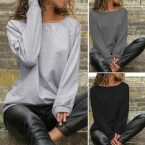 Fashion Solid Color Long Sleeve Round Neck Casual Sweatshirt
