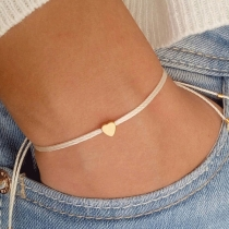 Simple Style Heart/Pentagram Braided Bracelet