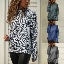 Fashion Long Sleeve Mock Neck Zebra-stripe Printed Sweatshirt