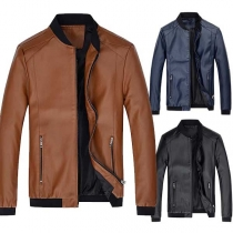Fashion Contrast Color Long Sleeve Side Pockets Men's Jacket