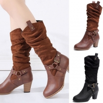 Fashion Thick Heel Round Toe Buckle Strap Boots