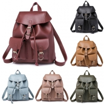Fashion Solid Color PU Leather Backpack