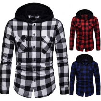 Fashion Long Sleeve Hooded Men's Plaid Shirt