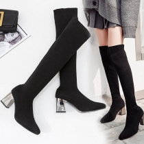 Fashion Thick Heel Pointed Toe Over-the-knee Boots