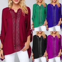 Fashion Solid Color Long Sleeve V-neck Lace Spliced Blouse