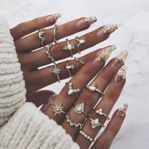 Fashion Rhinestone Spliced Ring Set 16 pcs/Set