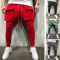 Casual Style Solid Color Front-pocket Men's Sports Pants