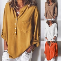 Fashion Solid Color Long Sleeve V-neck Loose Blouse