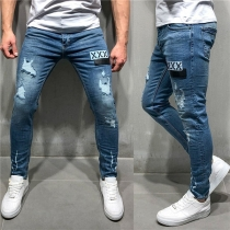 Fashion Middle-waist Slim Fit Ripped  Men's Jeans