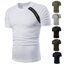 Stylische Herren T-shirt mit Steppung-Einsatz und Reißverschluss
