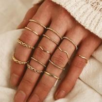 Retro Style Gold-tone Alloy Ring Set 14pcs/Set