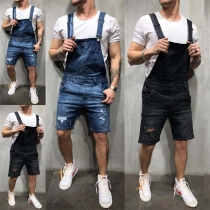 Fashion Middle-waist Ripped Men's Denim Overalls