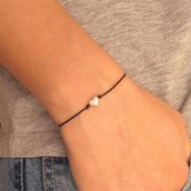 Simple Style Heart Braided Bracelet