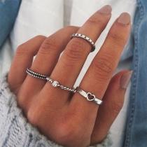 Simple Style Silver-tone Ring Set 4 pcs/Set