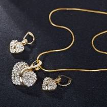 Fashion Rhinestone Inalid Heart Pendant Necklace + Earrings Set