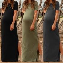 Simple Style Short Sleeve Slit Hem Solid Color Maternity Dress
