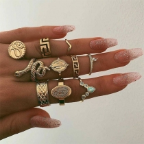 Retro Style Gold-tone Alloy Ring Set 10 pcs/Set
