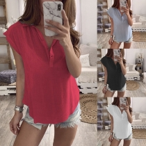 Fashion Solid Color Short Sleeve POLO Collar Blouse