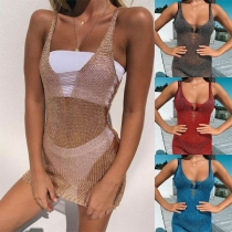 Sexy Backless V-neck Solid Color Slim Fit Bikini Smock