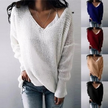 Fashion Solid Color Long Sleeve V-neck Loose Sweater