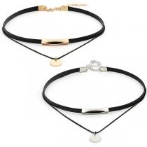 Choker Halskette Halsband in 2-Layer Look mit Kupferrohranhänger und rundem Anhänger