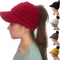 Fashion Solid Color Hollow Out Knit Peaked Cap