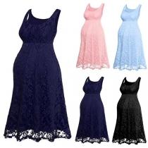 Fashion Sleeveless Round Neck Lace Maternity Dress