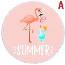 Cute Cartoon Flamingo Printed Tassel Beach Towel