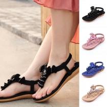 Bohemian Style Flat Heel Rhinestone Inlaid Thong Sandals