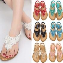 Bohemian Style Flat Heel Beaded Thong Sandals