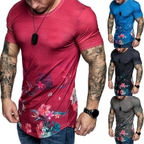 Fashion Round Neck Short Sleeve Man's Printed T-Shirt
