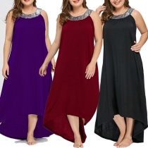 Fashion Sequin Spliced Sleeveless High-low Hem Oversized Plus-size Dress