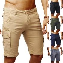 Fashion Solid Color Side Pocket Man's Knee-length Shorts