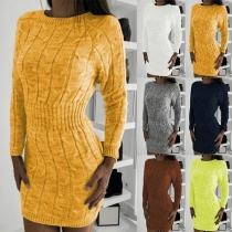 Strickkleid Pulloverkleid mit Zopfmuster, gerippter Taillenpasse und Abschlüssen