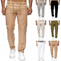 Fashion Solid Color Drawstring Waist Men's Casual Pants