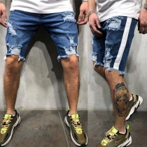 Fashion Middle-waist Ripped Man's Knee-length Denim Shorts