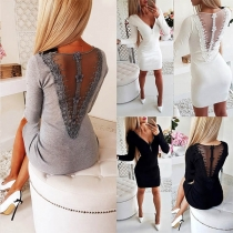 Sexy stilvolle Kleid mit Reißverschluss-V-Ausschnitt und Spitzendetails