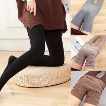 Fashion Solid Color High Waist Stretch Leggings