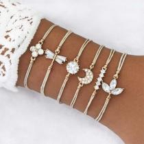 Fashion Rhinestone Inlaid Crescent Dragonfly Bracelet Set 6 pcs/Set