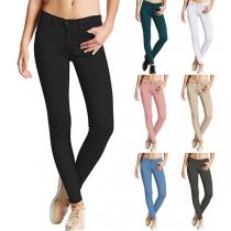 Fashion Solid Color Middle Waist Slim Fit Pencil Pants