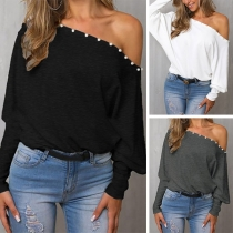 Off-Shoulder-Top Langarmshirt mit Fledermausärmel und Zierperelen