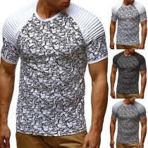 Fashion Short Sleeve Round Neck Printed Man's T-shirt