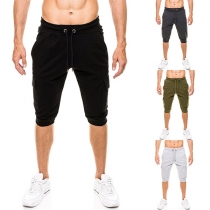 Casual Style Solid Color Side-pocket Man's Capri Pants