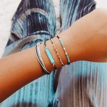Bohemian Style Beaded Braided Bracelet Set 4 pcs/Set