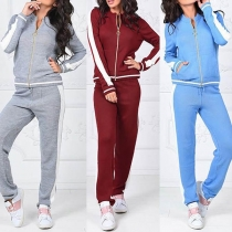 Fashion Contrast Color Long Sleeve Stand Collar Sports Suit